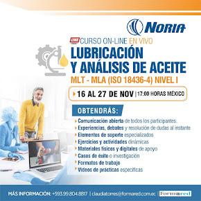 Curso ON LINE En Vivo Lubricación y Análisis de Aceite Nivel 1 - MLT I - MLA I