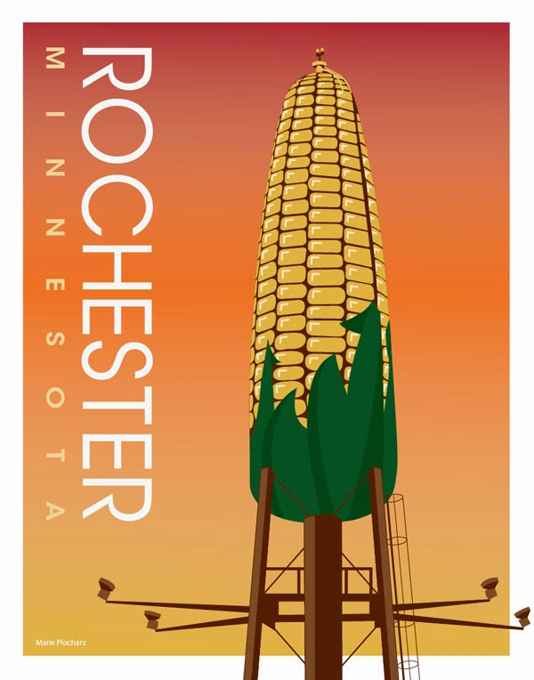 Ear of Corn Water Tower Rochester Minnesota - MN Roadside Attraction Travel Poster