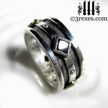 mens silver gothic wedding ring with black diamonds