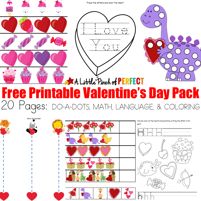 picture regarding Valentines Free Printable named No cost Valentines Working day Printable Game Pack: 20 Internet pages MATH
