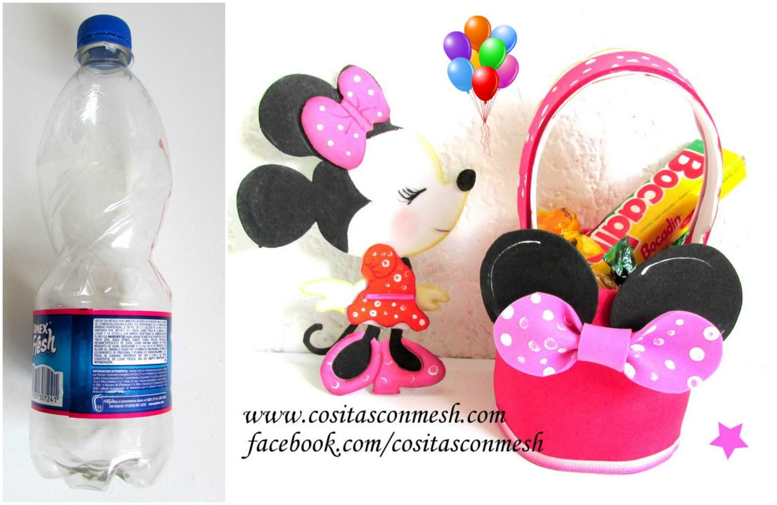 Centro de mesa minnie mouse con botellas de pet arreglo - Centros de mesa con botellas ...
