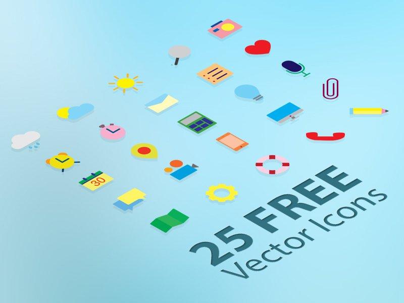 25 Ücretsiz Flat Vektör İkonları
