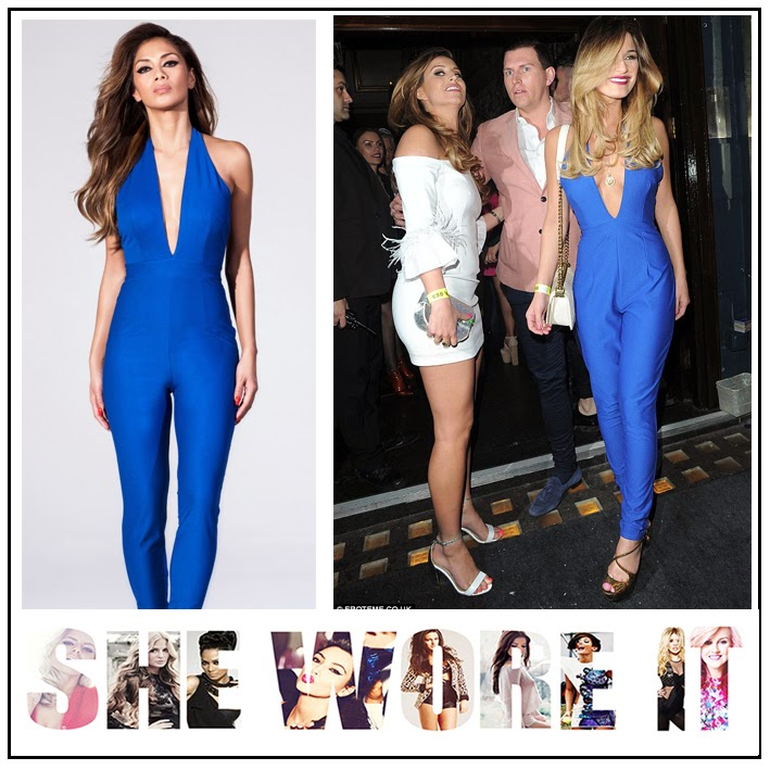 Blue, Bright, Deep V Neckline, Halterneck, Jumpsuit, Missguided, Nicole Scherzinger, Nicole x Missguided, Open Back, Sam Faiers, Sleeveless, Tailored, The Only Way Is Essex, TOWIE