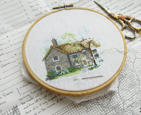 house, embroidery