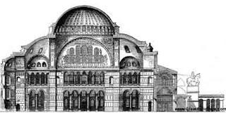 Dibujo de Santa Sofía antes de convertirse en mezquita