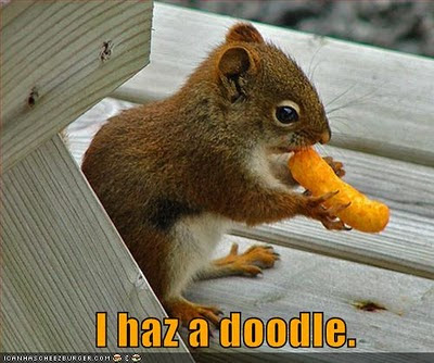 "Squirrel nibbling on a cheesy poof says ""I haz a doodle""."