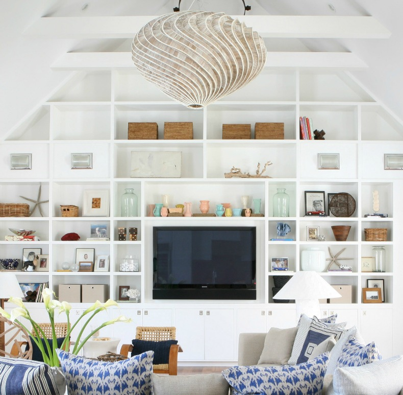 beautiful coastal space of blue and white with seashell accessories