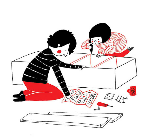 Heartwarming Illustrations Show That True Love Is In The Little Everyday Things - Building IKEA furniture is like playing with LEGO when it's just the two of you