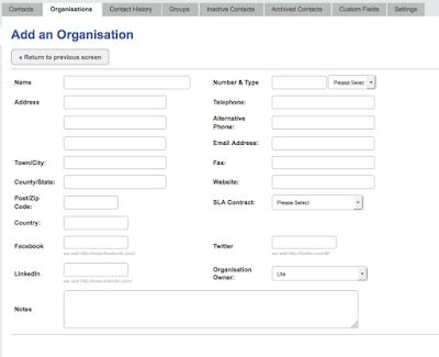 Formular zum Anlegen einer Organisation in InTouch