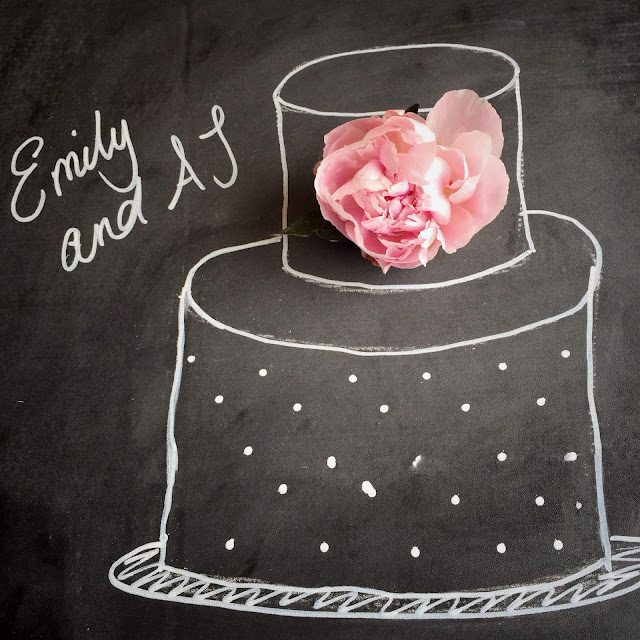 Chalkboard sketch of my wedding cake design