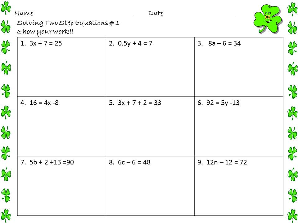 solving 2 step equations worksheet solving 2 step equations worksheet ...