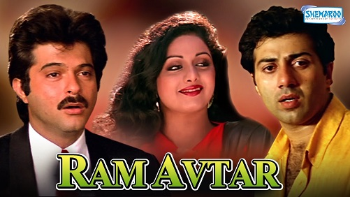 Poster Of Ram-Avtar 1988 Hindi 450MB DVDRip 480p Free Download Watch Online