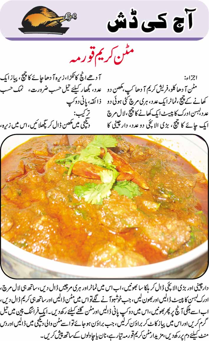 Daily Cooking Recipes in Urdu