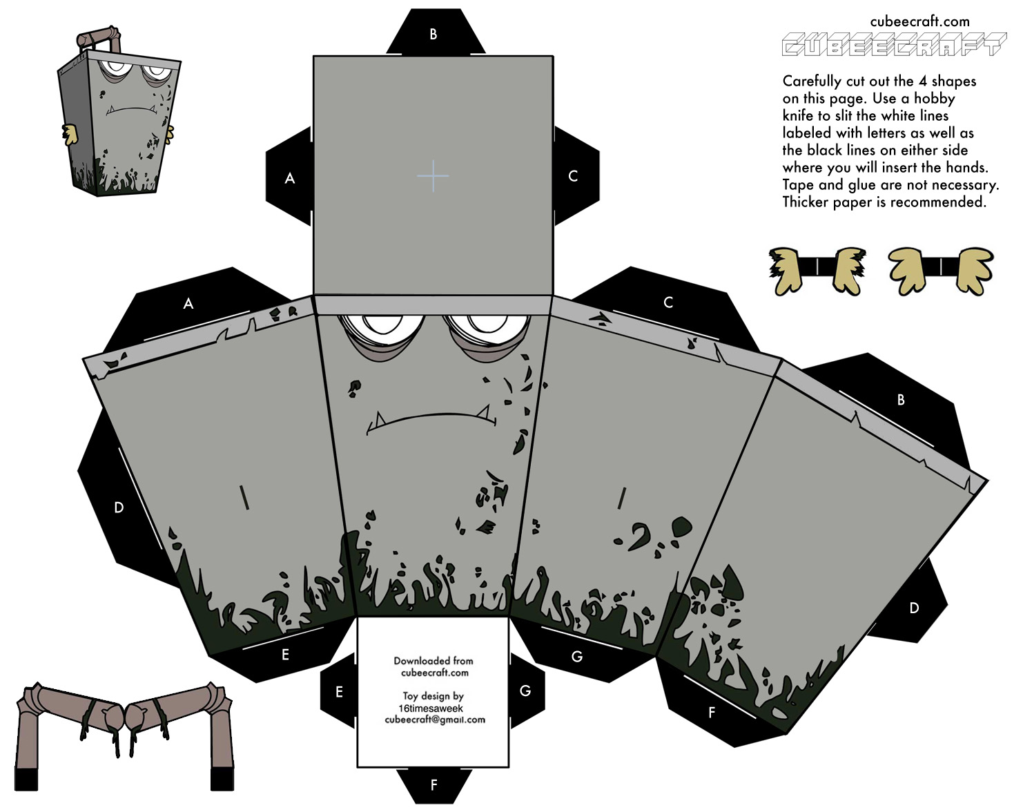 Download Zombie Master Shake Papercraft Free Here!! After Skip Ad