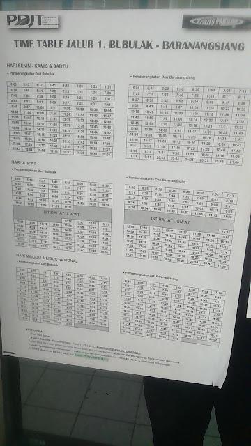 Time Table Bus Transpakuan Bubublak - Baranangsiang dan sebaliknya