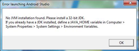 error launching android studio no jvm installation found