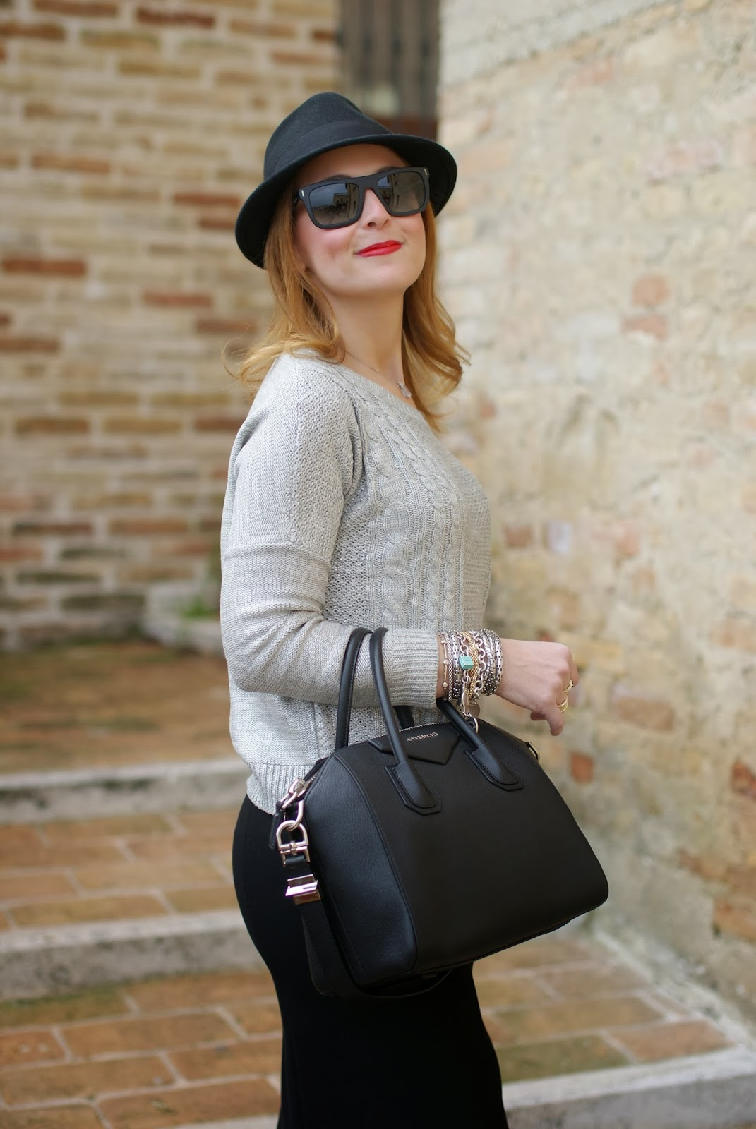 Zara zipper skirt, H&M fedora hat, Givenchy Antigona bag, Fashion and Cookies, fashion blogger
