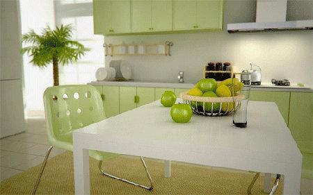 Decoración de interiores: Diseño de cocinas en color verde