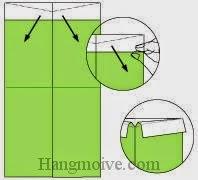 Bước 5: Cầm và kéo miếng giấy xuống dưới.