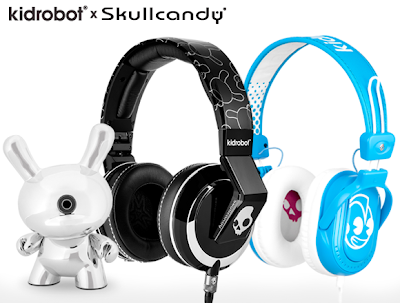 Kidrobot x Skullcandy Headphone Collection - Jacked-Up 3&#8221; Chrome Dunny, Kidrobot Mix Master Headphones, Kidrobot Agent Headphones