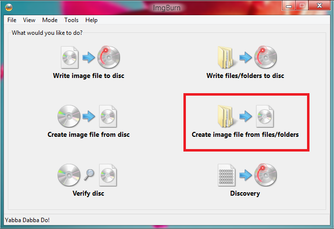 Create Image files IMGBurn