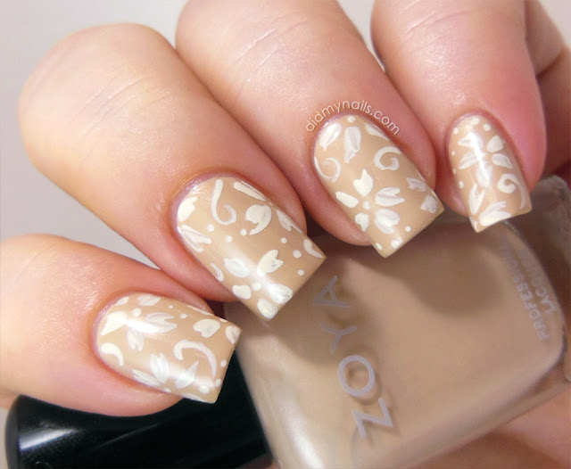 floral nail art on Zoya Minka