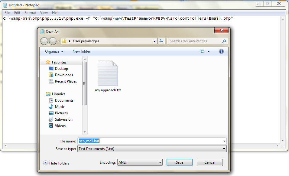 Write a batch file in windows 7