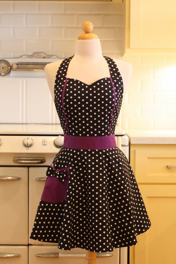 Boojiboo's Sweetheart Apron Black and White Polka Dot with Purple MAGGIE