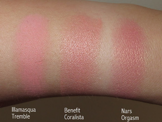 comparison of illamasqua tremble benefit coralista nars orgasm