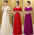 3-Color Lotus Sleeve Sequin Waist Maxi Evening Dress