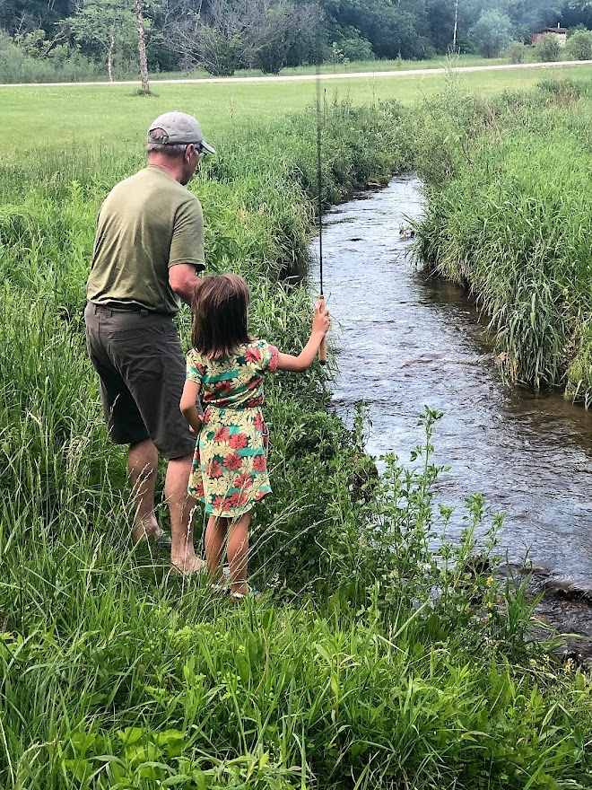 David Noll's grandaughter at work with tenkara.