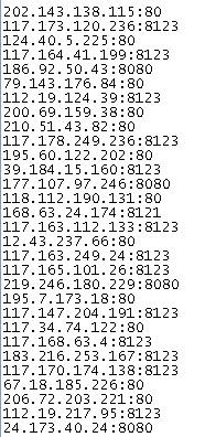 public proxy servers list