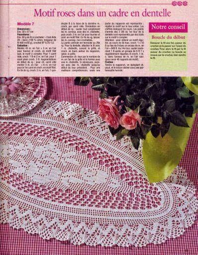 Bellísima carpeta ovalada con centro de rosas al crochet