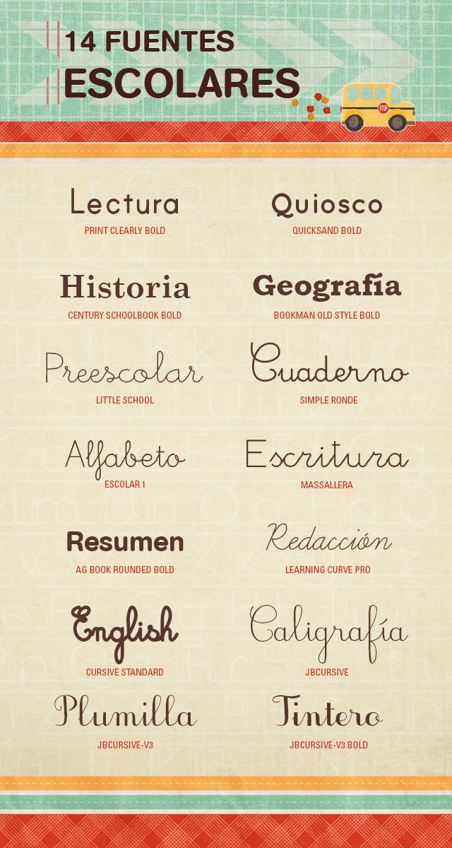 fuentes tipografías escolares  gratuitas
