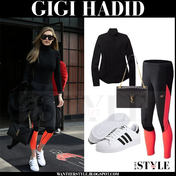 Gigi Hadid in black turtleneck babaton aritzia sweater, black new balance leggings and white adidas sneakers what she wore