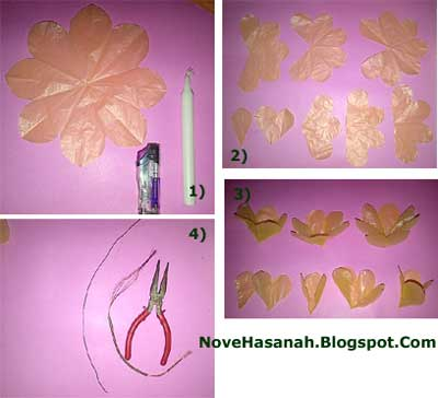 langkah membuat bunga zinnia dari kantong plastik bekas