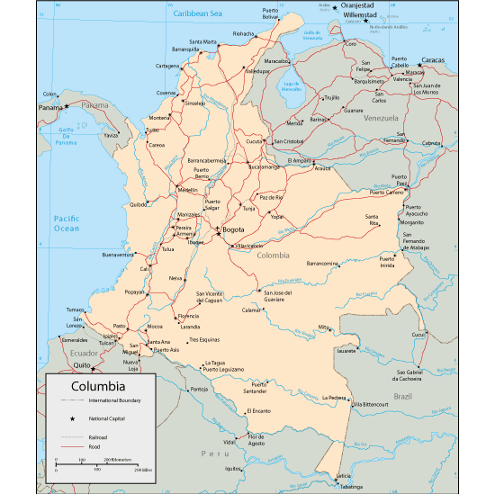 Mapa físico de Colombia editable - Vector