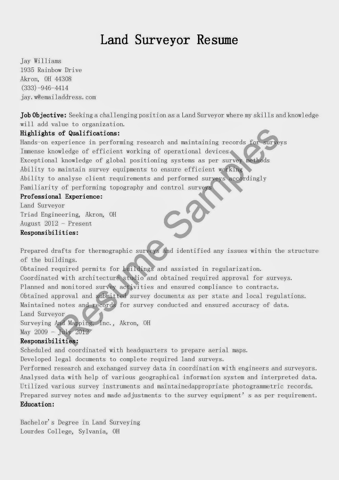resume samples  land surveyor resume sample