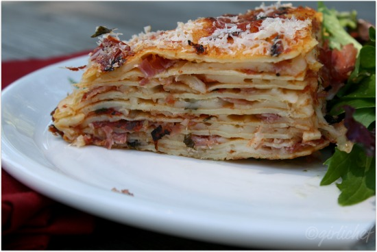 Layered Crespelle w/ Tomato, Prosciutto, and Cheese + making Crêpes | www.girlichef.com