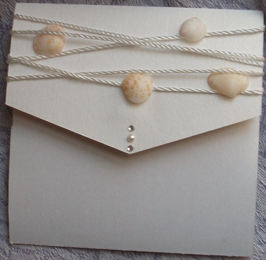 Shells and Pearls Bech Themed Pocket Fold Wedding Invitations