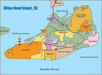 Hilton Head Island map showing areas
