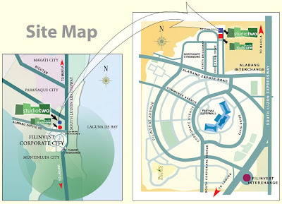 Studio Two Alabang Location Map, Condominium for sale in Alabang, Filinvest