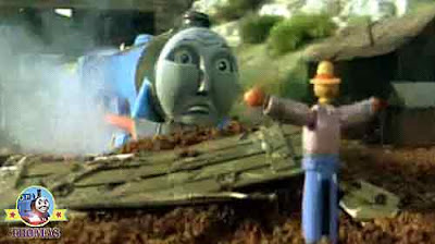 Fastest express Gordon's tumble left him sat in the farmland brown field looking at a scarecrow man