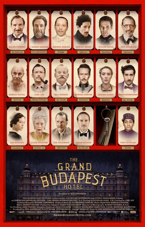 The Grand Budapest Hotel, Movie Poster, Directed by Wes Anderson, starring F. Murray Abraham, Edward Norton, Jude Law, Adrien Brody, Willem Dafoe, Tilda Swinton, Harvey Keitel, Tom Wilkinson, Bill Murray, Léa Seydoux, Ralph Fiennes