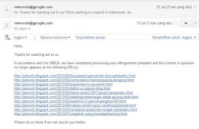 laporan google DMCA