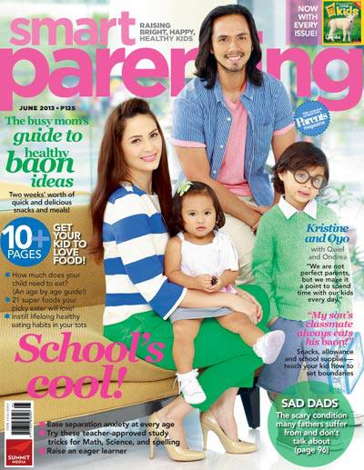 Kristine Hermosa, Oyo Sotto and Kids on Smart Parenting Magazine June 2013
