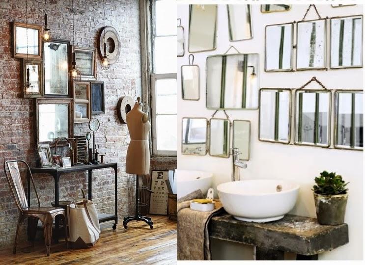 espejos antiguos con estilo industrial