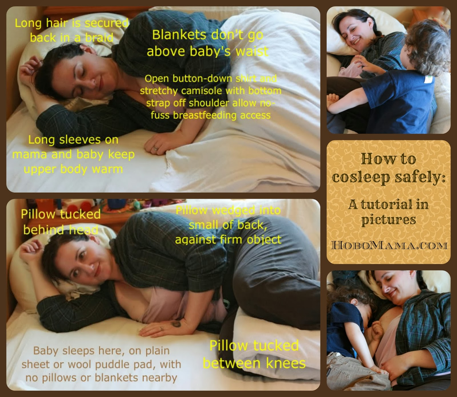 How to cosleep safely: A tutorial in pictures == Hobo Mama