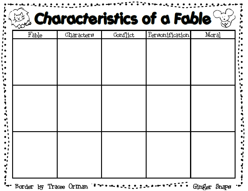 Ginger Snaps Fable Graphic Organizer And A Lesson Plan
