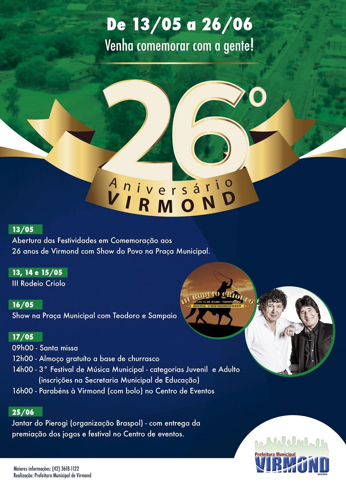 Virmond:Município comemora 26 anos com grande programação !!